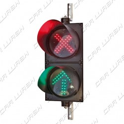 Complete adjustable double traffic light Freccia Verde / Red Cross led 7/6 W 220 V. - dim. 50x25 cm.