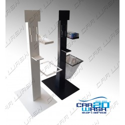 Indoor sanitizing stand with glove holder and waste bin holder