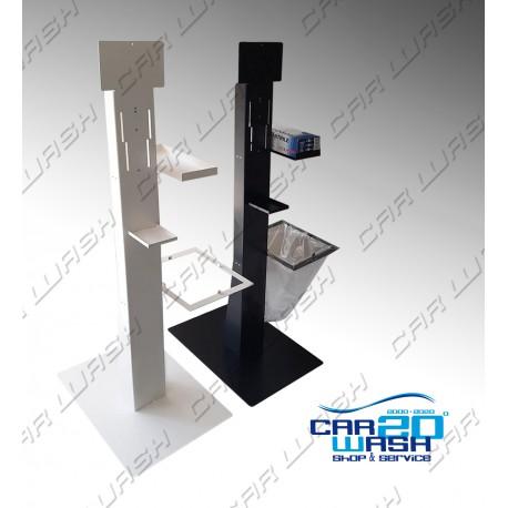 Indoor sanitizing stand with glove holder and waste bin holder
