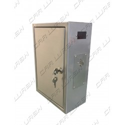 Timed stainless steel box with mechanical coin acceptor for token, timer card and display