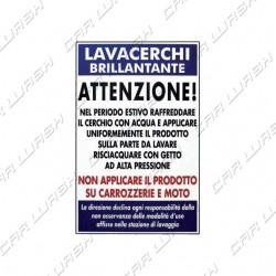 """Adesivo """"Lavacerchi attenzione"""" 50x70"""